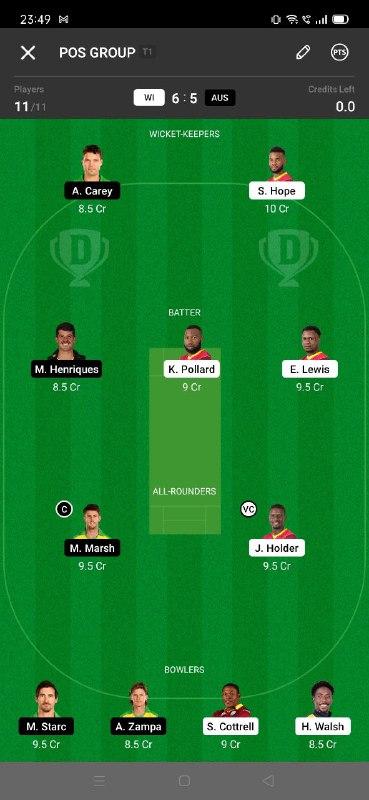 WI vs AUS 7th ODI