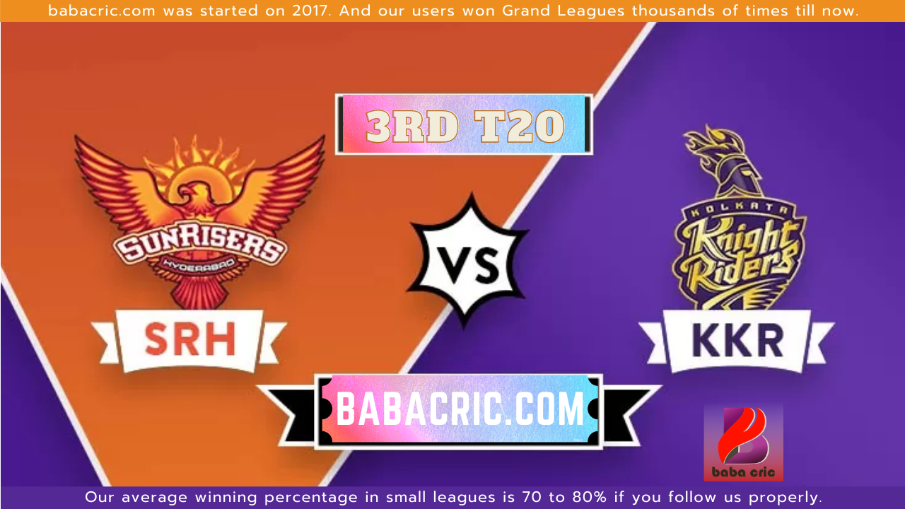 SRH vs KOL - 3rd T20 Dream11 Prediction | IPL 2020 Team | Live Score