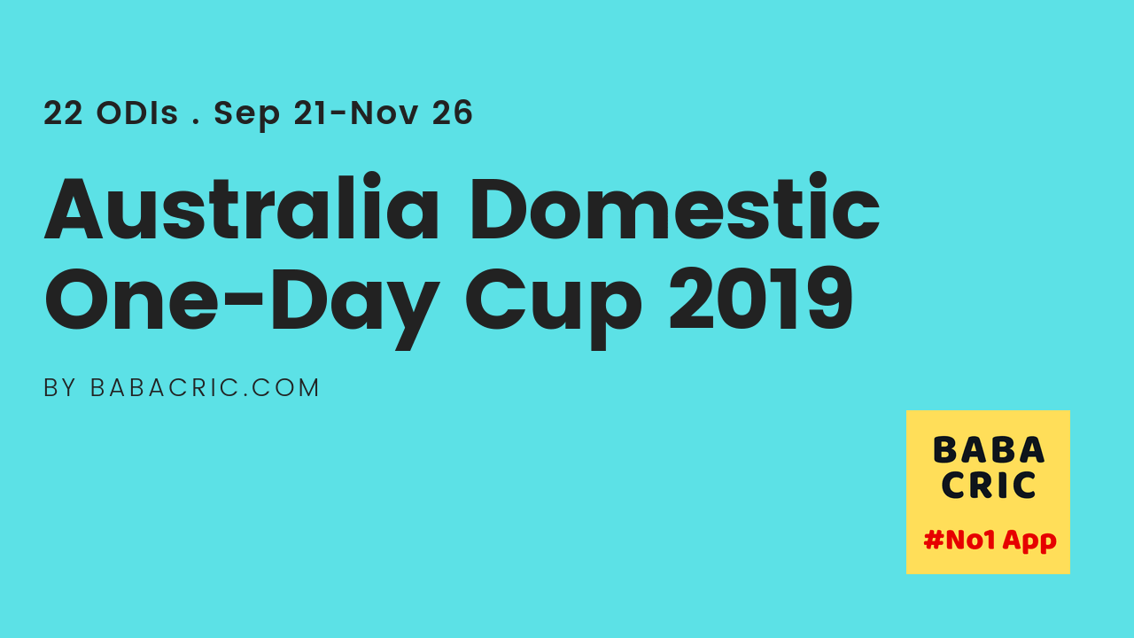 Australia Domestic One-Day Cup 2019