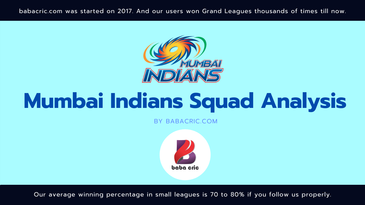 MI IPL Squad Analysis Dream11 Prediction | IPL 2020 Team | Live Score
